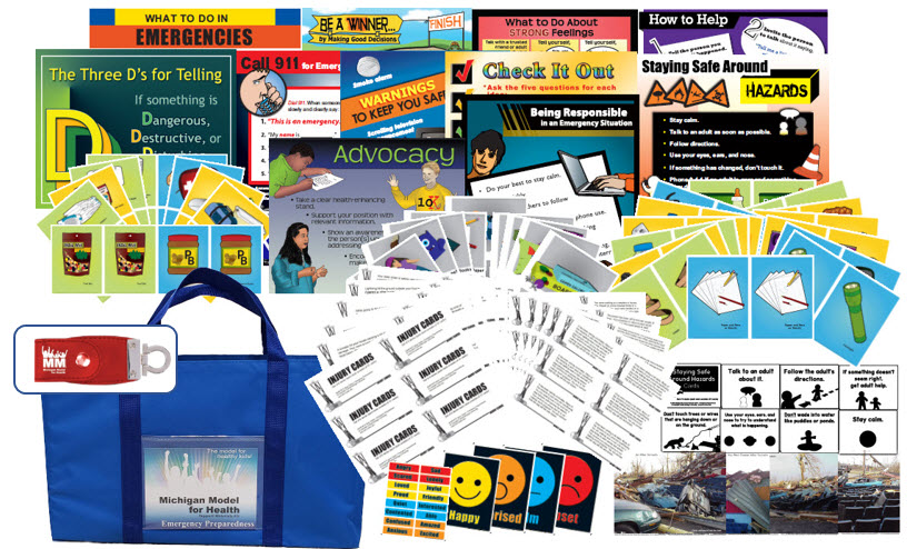 Emergency Preparedness Grade K-12 Curriculum - images of lessons, posters, cards and other support materials